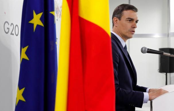 El presidente del Gobierno, Pedro Sánchez, en rueda de prensa en Osaka tras finalizar la cumbre del G20. /EFE