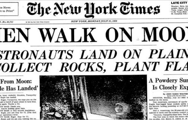La portada de The New York Times sobre la llegada a la Luna. /L.I.