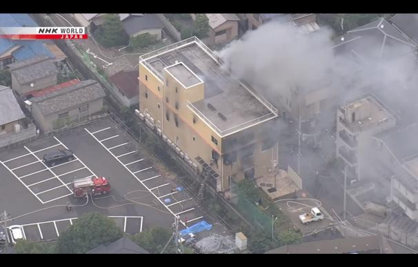 Incendio estudios Japón. / NHK