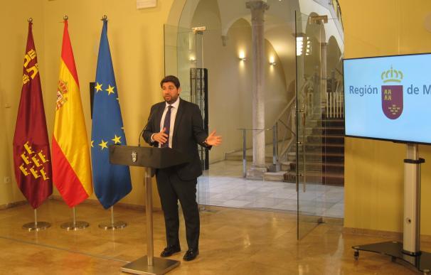 Fernando López Miras,durante la rueda de prensa