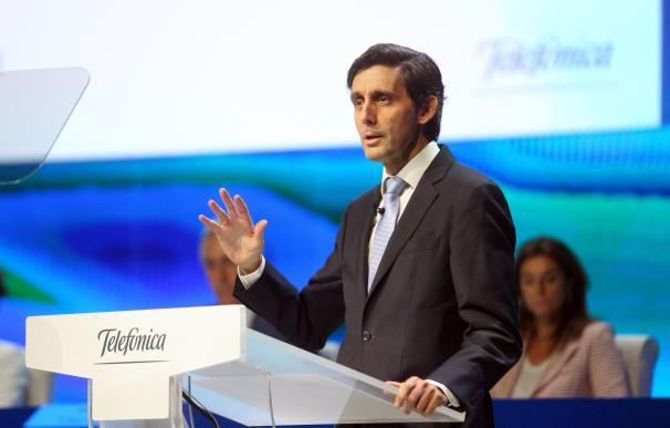 Álvarez-Pallete durante la junta de accionistas