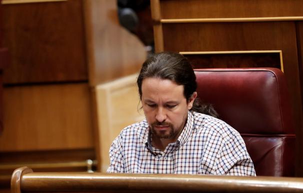 Pablo Iglesias durante la segunda sesión de investidura