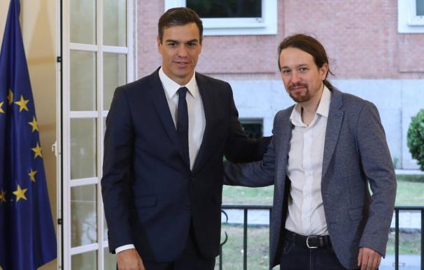 Pedro Sánchez y Pablo Iglesias. EP