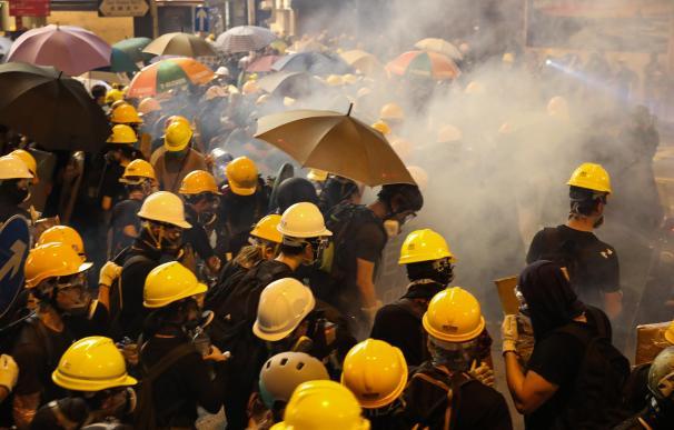 Manifestantes en Hong Kong