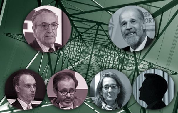 Los tres negociadores de la CNMC (izda) Marín Quemada, Joaquim Hortalá y Fernando Hernández; a la derecha, Domínguez Abascal y Maria Jesús Martín por el Ministerio de Transición. la silueta corresponde a un abogado del estado por determinar.
