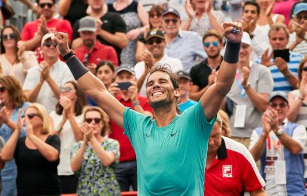 Rafael Nadal of Spain celebrates his victory over Daniil Medvedev of Russia during their finals match of the Rogers Cup tennis tournament in Montreal, Canada, 11 August 2019. (Tenis, Rusia, España) EFE/EPA/VALERIE BLUM