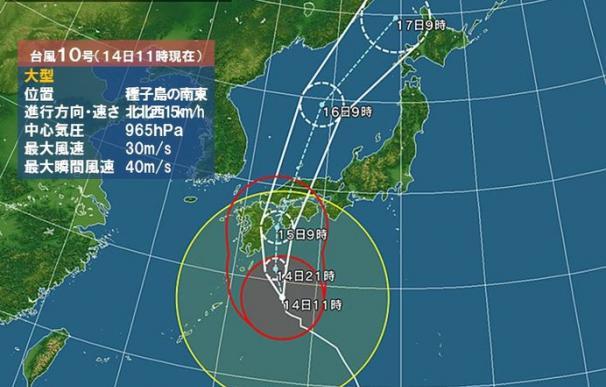 Mapa del desplazamiento del tifón que amenaza a Japón. /L.I.
