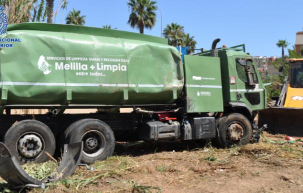 El camión cisterna que fue hurtado y dañado por el acusado. /Policía Nacional
