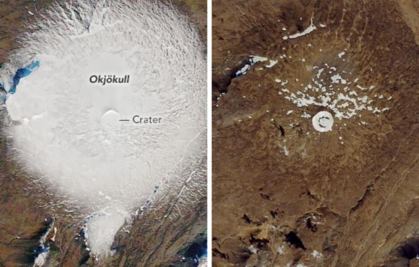 Fotografía de la muerte del glaciar Okjökull en Islandia.