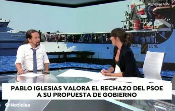 Pablo Iglesias durante su entrevista en Antena 3. /L.I.