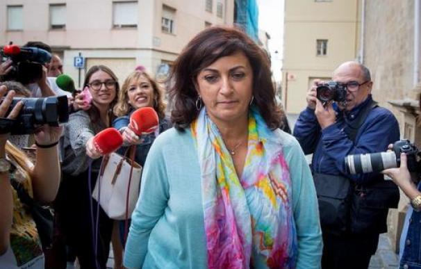 Concha Andreu, candidata del PSOE a presidir La Rioja, este lunes en Logroño. /Raquel Manzanares/EFE