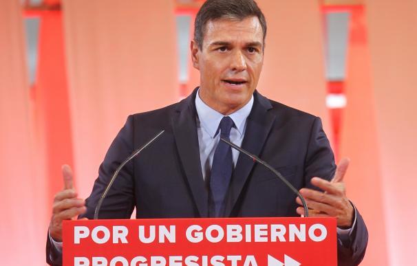 """Pedro Sánchez en la presentación del """"programa común progresista""""."""