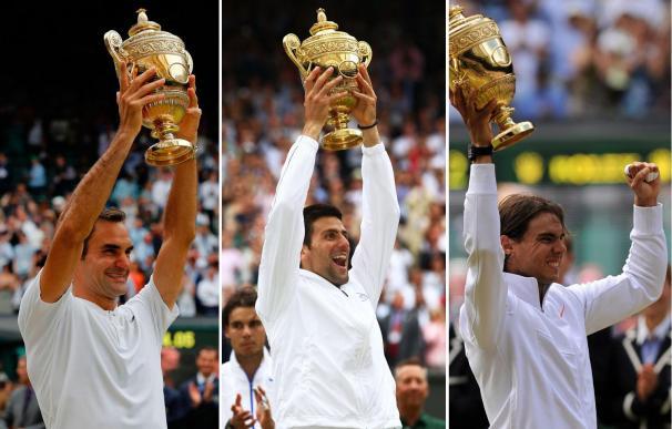 Roger Federer, Novak Djokovic y Rafa Nadal