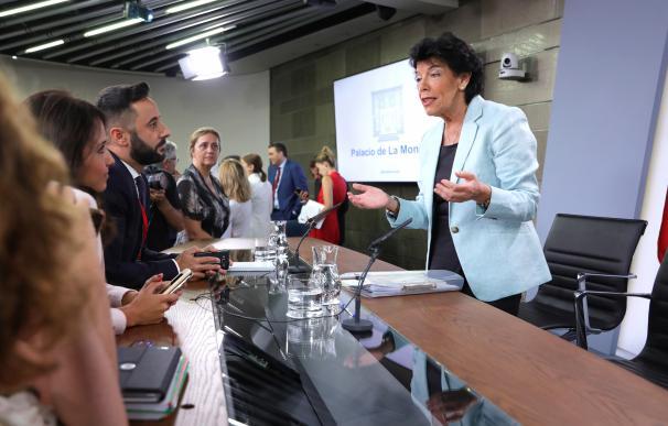 Isabel Celaá, portavoz del Gobierno, Consejo de Ministros