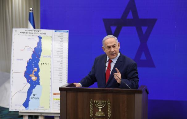 Benjamin Netanyahu, presentando su plan para anexionar el Valle del Jordán