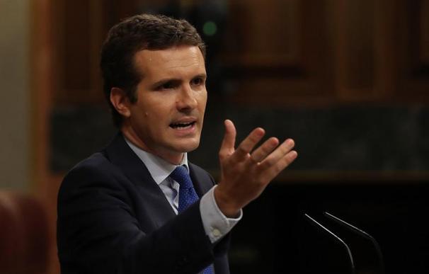Pablo Casado, durante el debate de investidura