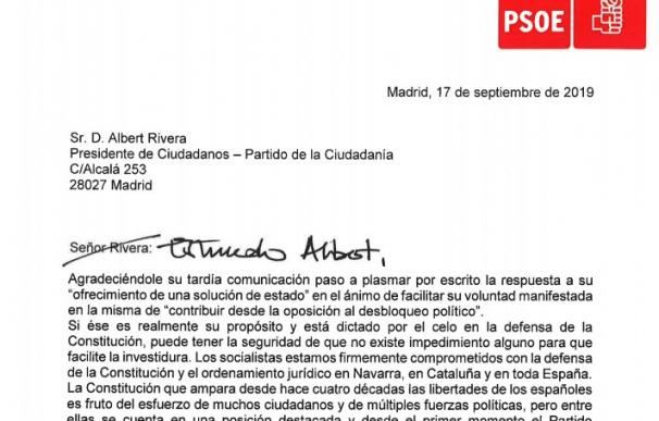 Carta de Sánchez a Rivera