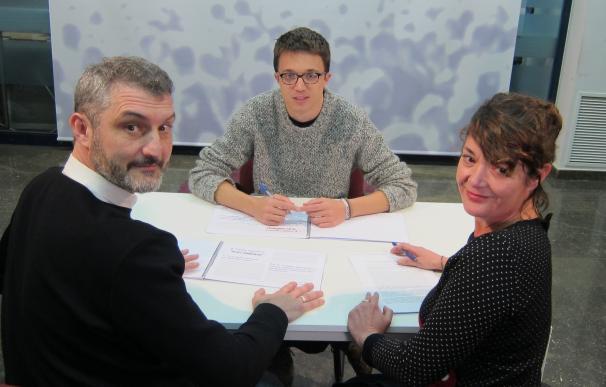 íñigo Errejón junto a María Giménez y Óscar Urralburu