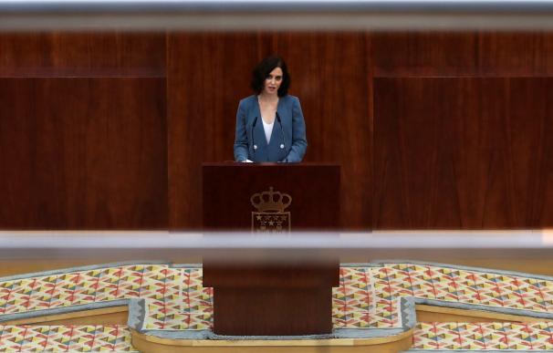 La candidata del PP a la Presidencia de la Comunidad de Madrid, Isabel Díaz Ayuso, durante su discurso de la primera sesión del pleno de investidura. /EFE