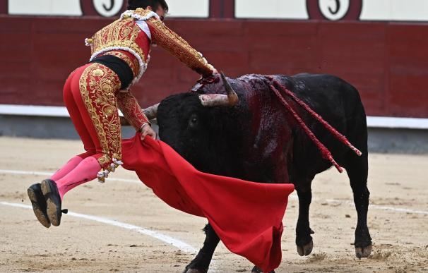 El diestro Gonzalo Caballero sufrió la cornada en el momento de entrar a matar. /EFE/ Fernando Villar