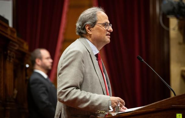 El president Quim Torra intervé en el ple del Parlament de Catalunya.