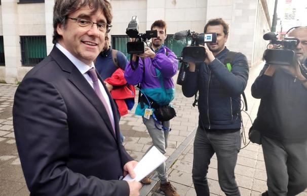 Carles Puigdemont durante su comparecencia a autoridades belgas