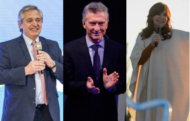 De izquierda a derecha, Alberto Fernández, Mauricio Macri y Cristina Fernández de Kirchner