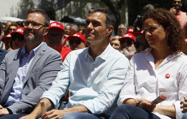 El candidato del PSOE a la Presidencia del Gobierno, Pedro Sánchez, en el acto de campaña del PSIB en las autonómicas en mayo, en la Plaza París de Palma.