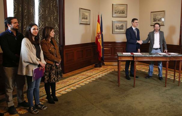 Garzón, Montero y Lastra fueron testigos del pacto 'Sánchez-Iglesias'.