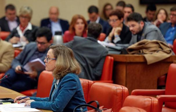La ministra de Economía, Nadia Calviño, durante el debate en la Diputación Permanente