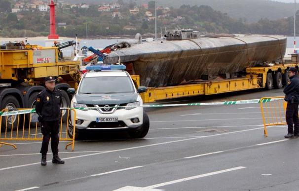 Fotografía del narcosubmarino encontrado en Galicia.