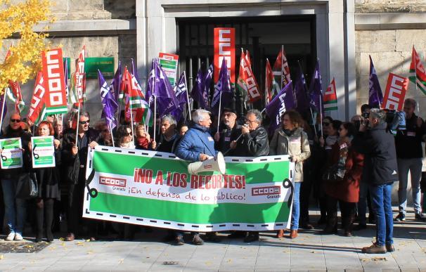 Imagen de la concentración del sindicato CCOO en Granada