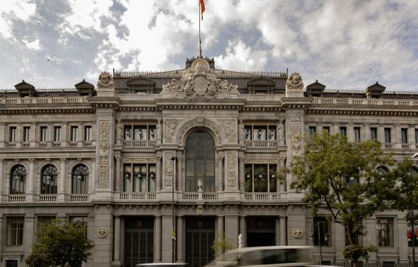 Fachada del edificio del Banco de España situada en la confluencia del Paseo del Prado y la madrileña calle de Alcalá.