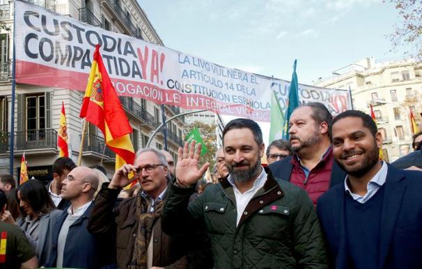 Santiago Abascal, en la manifestación por la Constitución de Barcelona