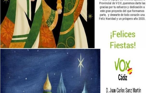 Felicitación navideña de Vox en Cádiz
