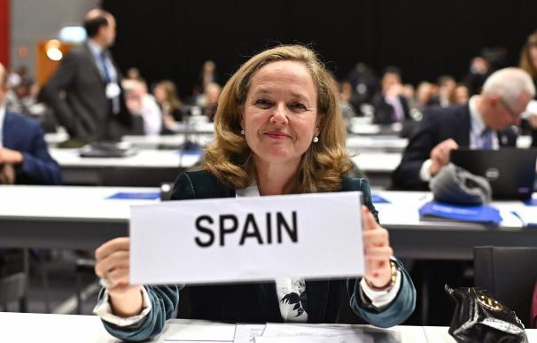 La ministra de Economía y Empresa en funciones, Nadia Calviño, durante su asistencia a la Coalición de Ministros de Finanzas para la acción climática. /EFE