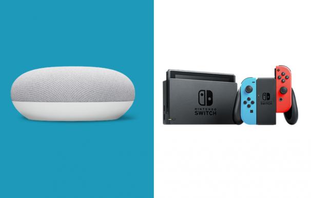 Fotografía del Google Nest Mini y la Nintendo Switch, que se regalan en Navidad.