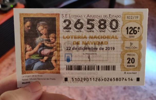 Fotografía del décimo de Lotería que casi es el del 'Gordo'.