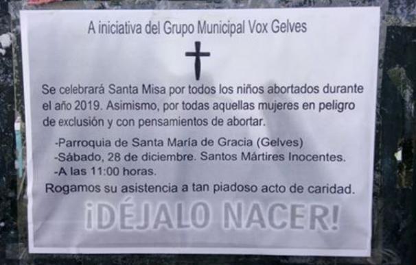 Vox convoca una misa por los bebés abortados
