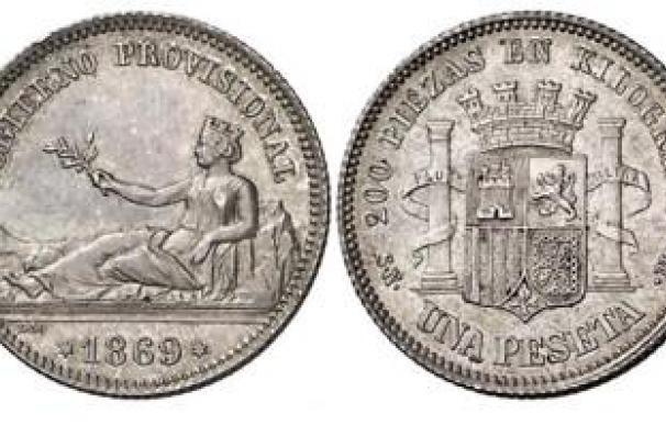 Primera peseta de plata en 1969.