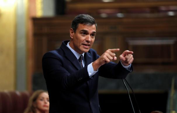 El presidente del Gobierno en funciones, Pedro Sánchez, durante interviene este miércoles en el pleno del Congreso