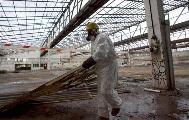Un operario retira restos de uralita con amianto de una nave en ruinas. EFE ADRIÁN RUIZ DE HIERRO