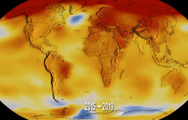 Fotografía del vídeo de la NASA sobre el calentamiento de la Tierra.