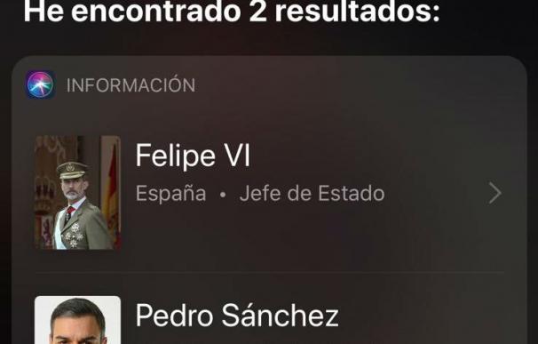 El lapsus de Siri sobre el jefe de Estado en España
