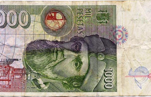 Fotografía de un billete de 1.000 pesetas de 1992.