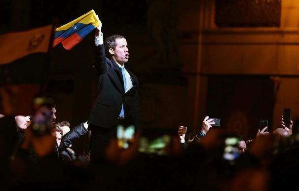 Juan Guaidó, durante el mitin que ofreció en Madrid