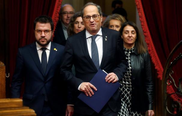 El presidente de la Generalitat de Catdaluña, Quim Torra, poco antes del pleno extraordinario del Parlament. /EFE