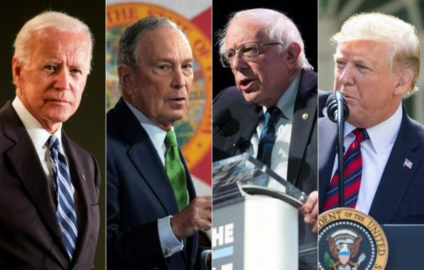 Joe Biden, Mike Bloomberg, Bernie Sanders y Donald Trump
