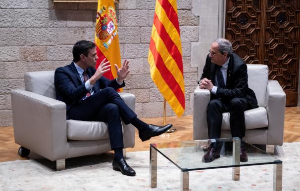 Quim Torra y Pedro Sánchez, en su reunión en el Palau de la Generalitat