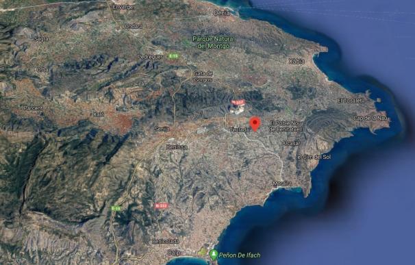 Localización del camí de les Comes de Teulada
